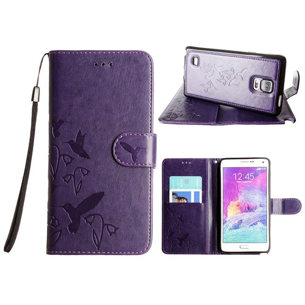 - Embossed Humming Bird Design Wallet Case with Matching Removable Case and Wristlet, Purple for Samsung Galaxy Note 4