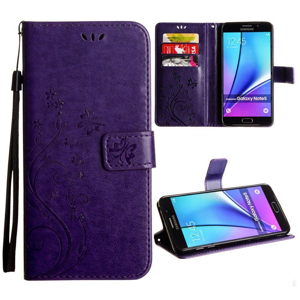 - Embossed Butterfly Design Leather Folding Wallet Case with Wristlet, Purple for Samsung Galaxy Note 5