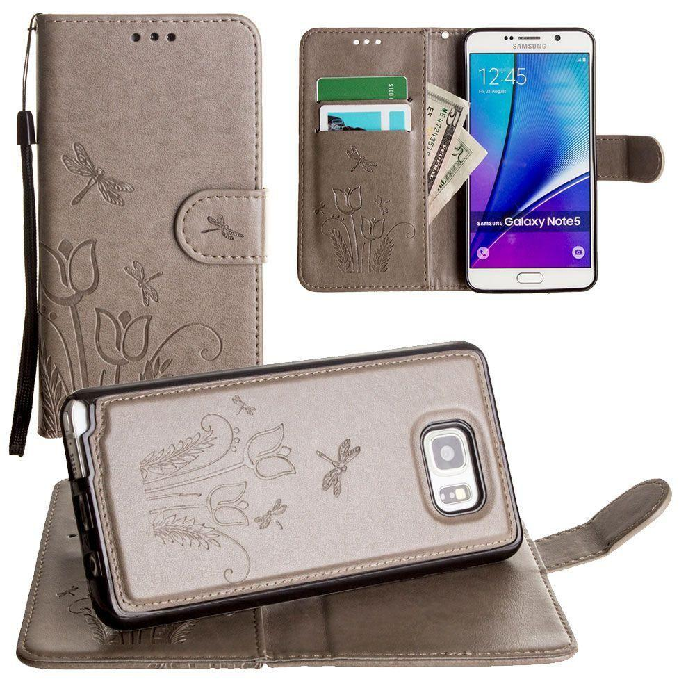 - Embossed dragonfly over tulip design wallet case with Matching detachable magnetic case and wristlet, Gray for Samsung Galaxy Note 5