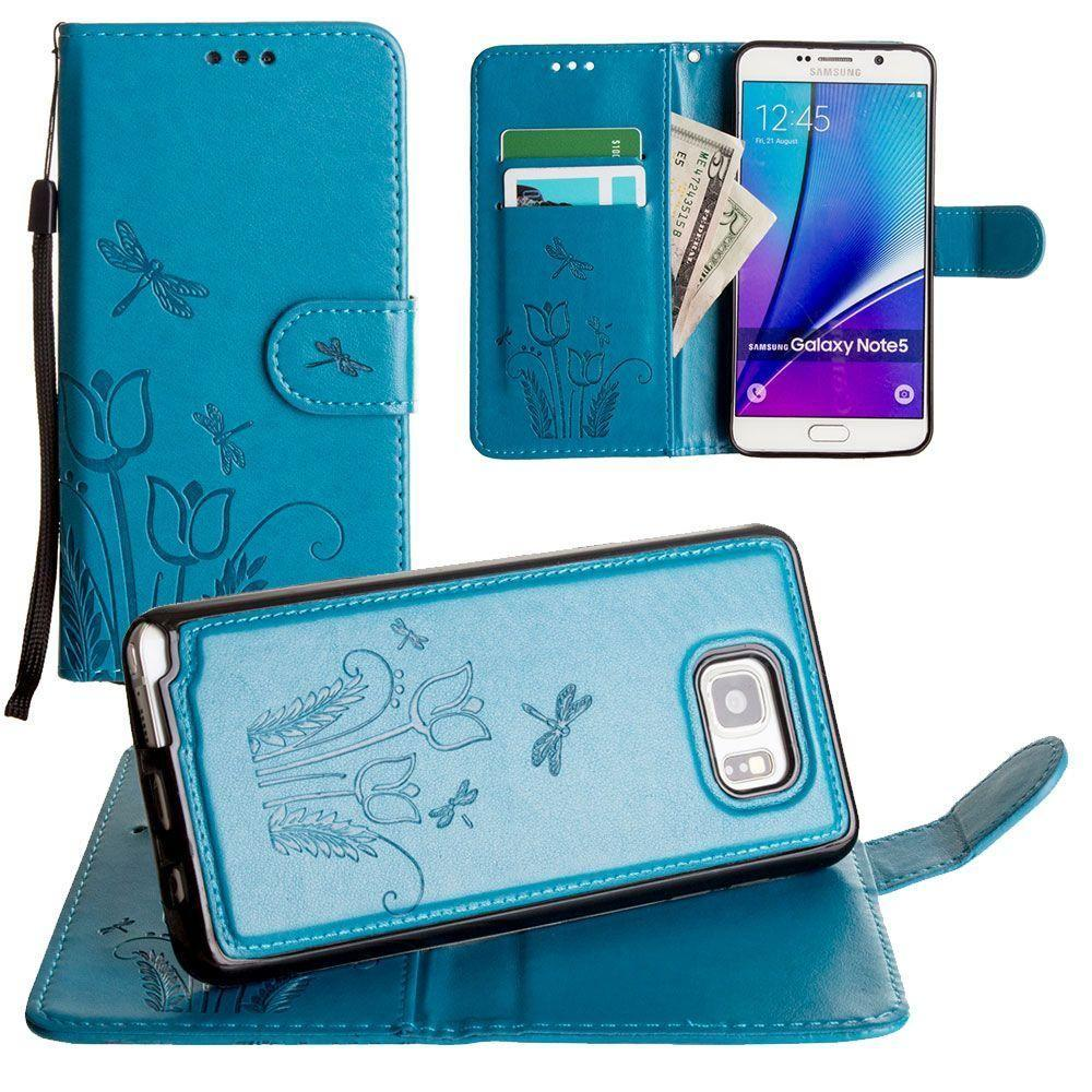 - Embossed dragonfly over tulip design wallet case with Matching detachable magnetic case and wristlet, Teal for Samsung Galaxy Note 5