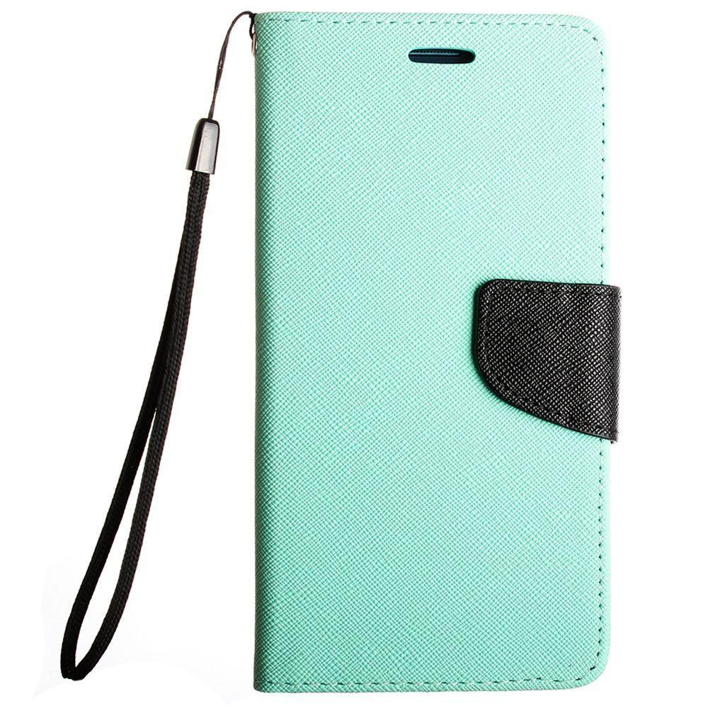 - Premium 2 Tone Leather Folding Wallet Case, Mint/Black
