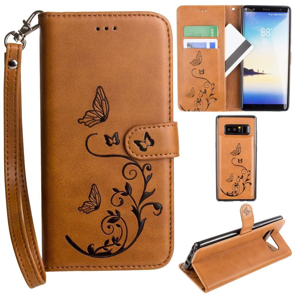 - Embossed Butterfly Design Wallet Case with Detachable Matching Case and Wristlet, Brown for Samsung Galaxy Note 8