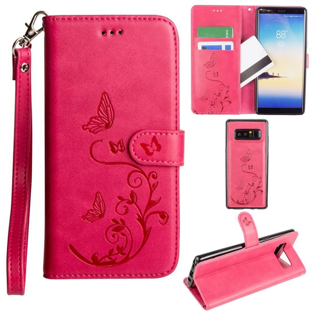 - Embossed Butterfly Design Wallet Case with Detachable Matching Case and Wristlet, Hot Pink for Samsung Galaxy Note 8