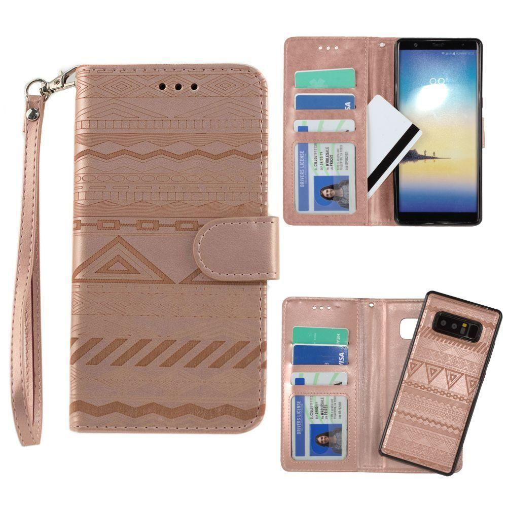 - Aztec tribal laser-cut wallet with detachable matching slim case and wristlet, Rose Gold for Samsung Galaxy Note 8