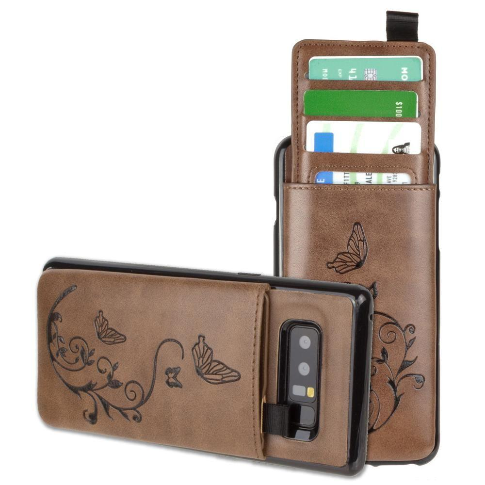- Embossed Butterfly Leather Case with Pull-Out Card Slot Organizer, Brown for Samsung Galaxy Note 8