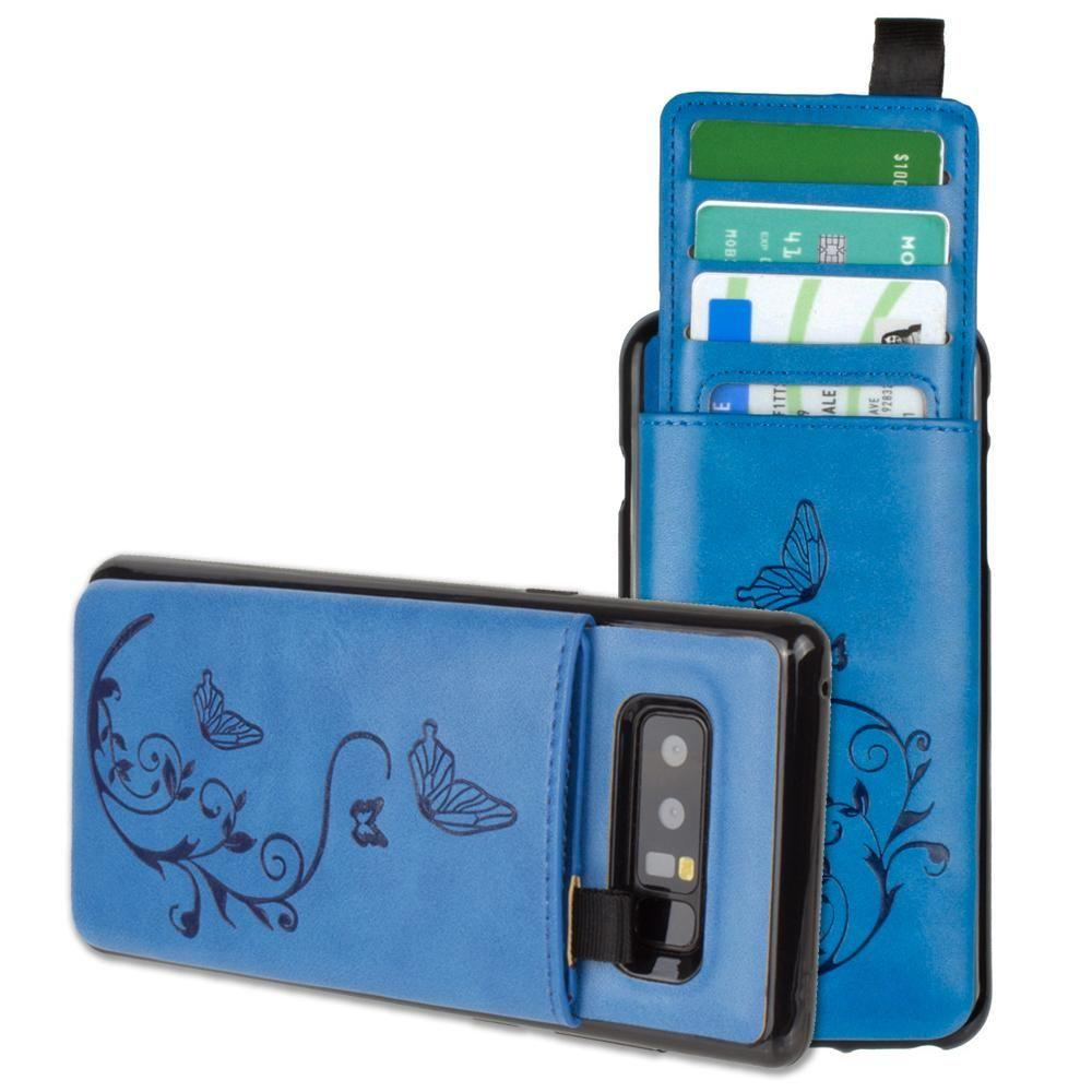 - Embossed Butterfly Leather Case with Pull-Out Card Slot Organizer, Blue for Samsung Galaxy Note 8