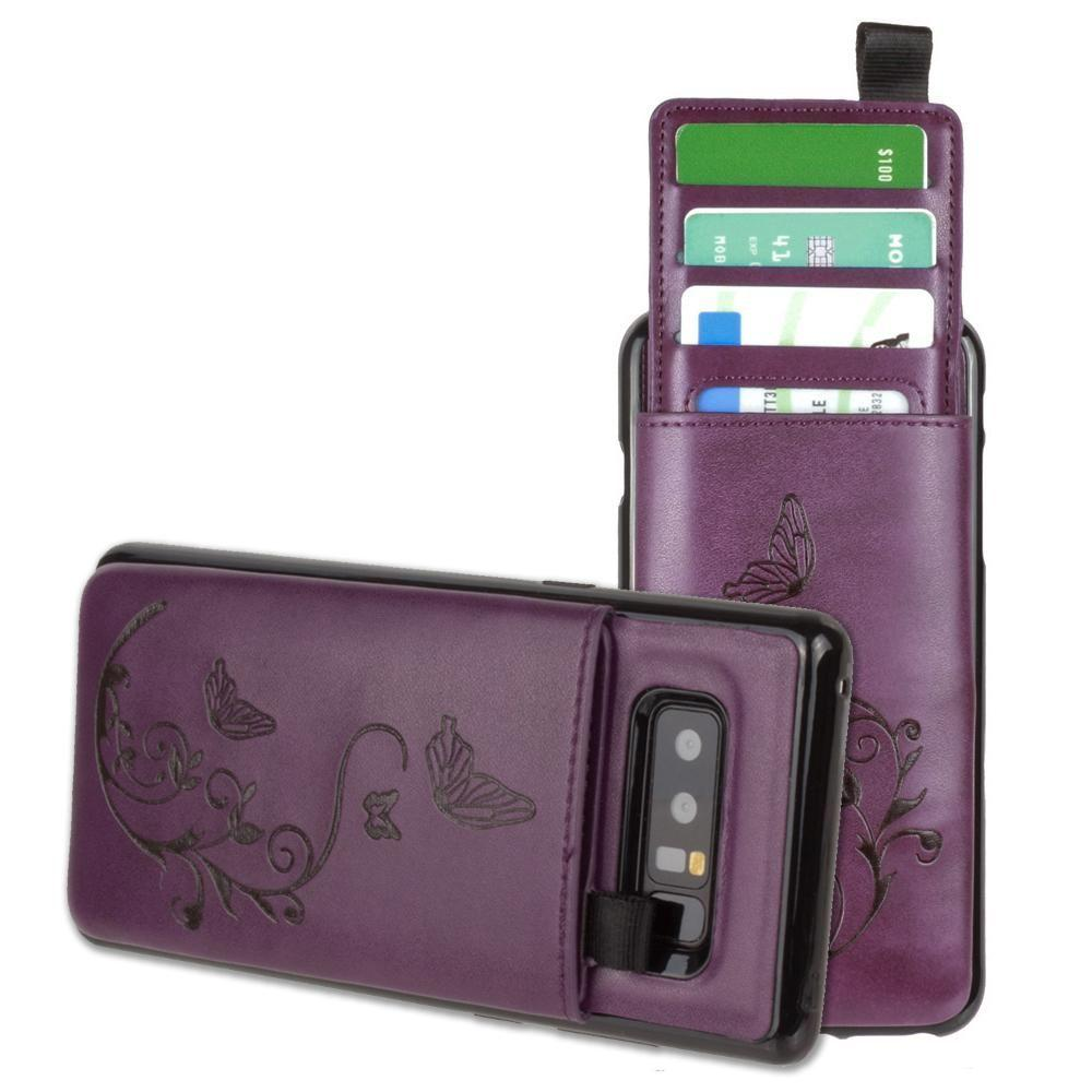 - Embossed Butterfly Leather Case with Pull-Out Card Slot Organizer, Purple for Samsung Galaxy Note 8
