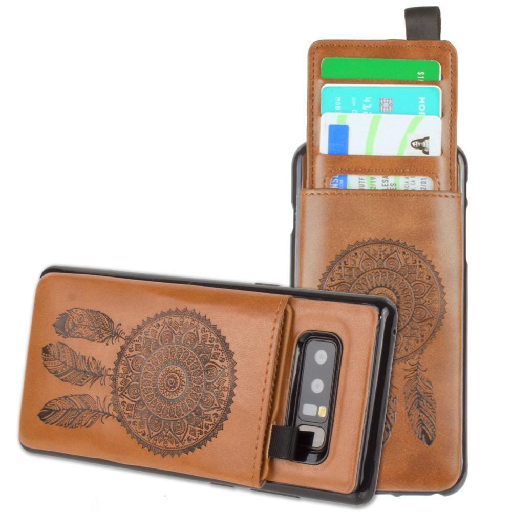 - Embossed Dreamcatcher Leather Case with Pull-Out Card Slot Organizer, Taupe for Samsung Galaxy Note 8