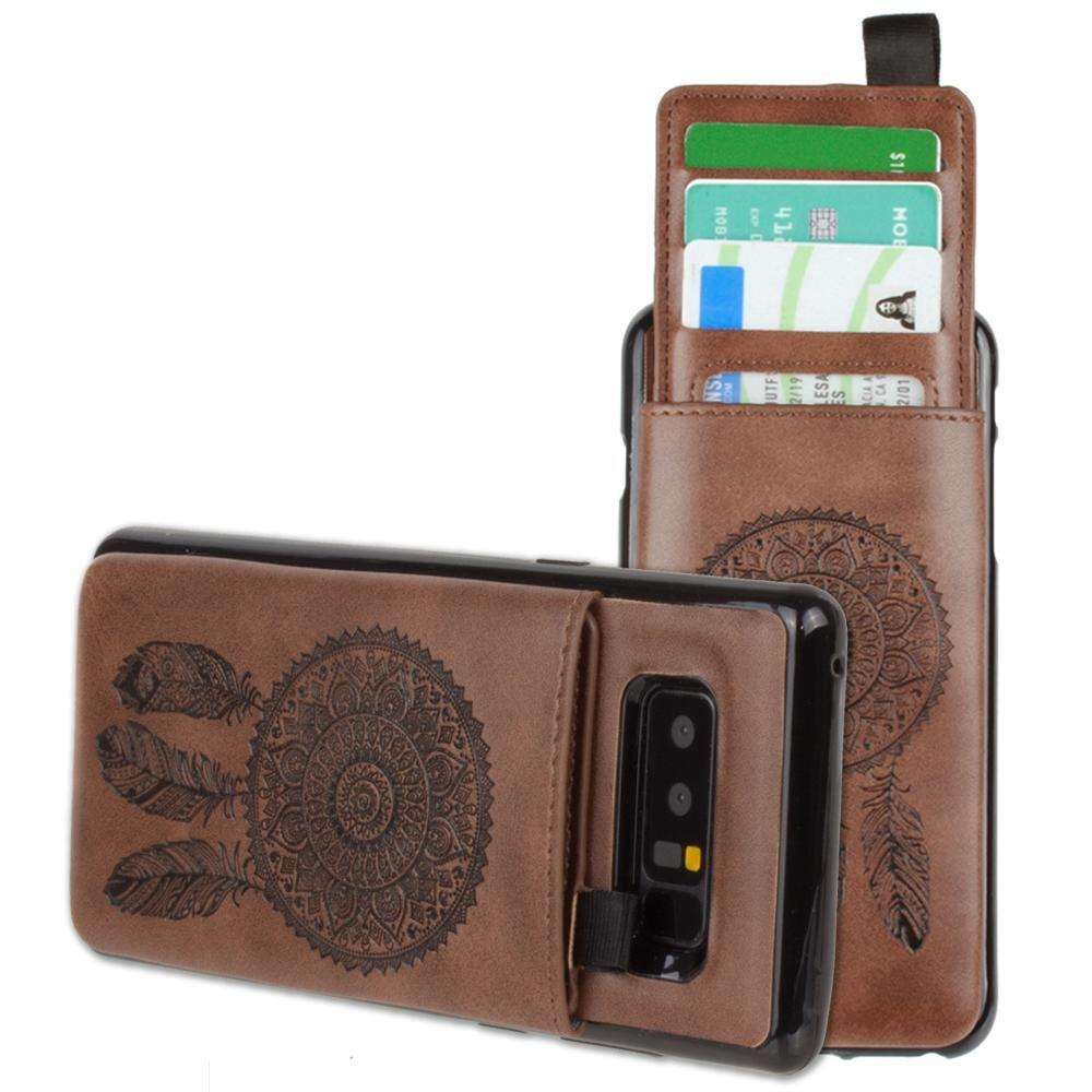 - Embossed Dreamcatcher Leather Case with Pull-Out Card Slot Organizer, Brown for Samsung Galaxy Note 8