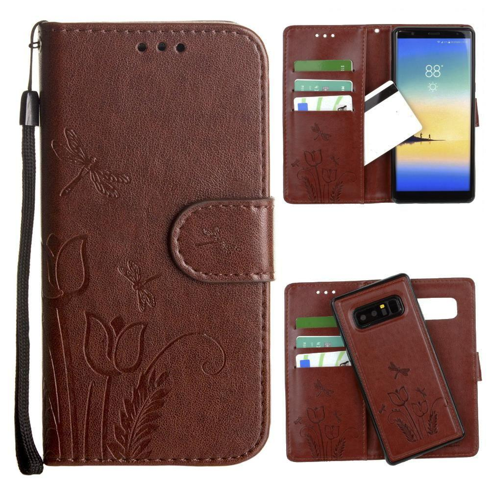 - Embossed dragonfly over tulip design wallet case with Matching detachable magnetic case and wristlet, Brown for Samsung Galaxy Note 8