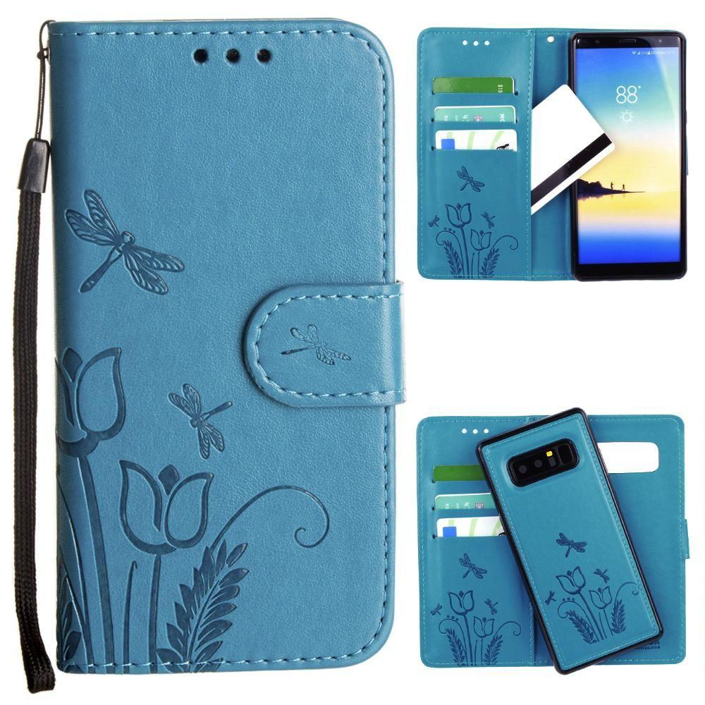 - Embossed dragonfly over tulip design wallet case with Matching detachable magnetic case and wristlet, Teal for Samsung Galaxy Note 8