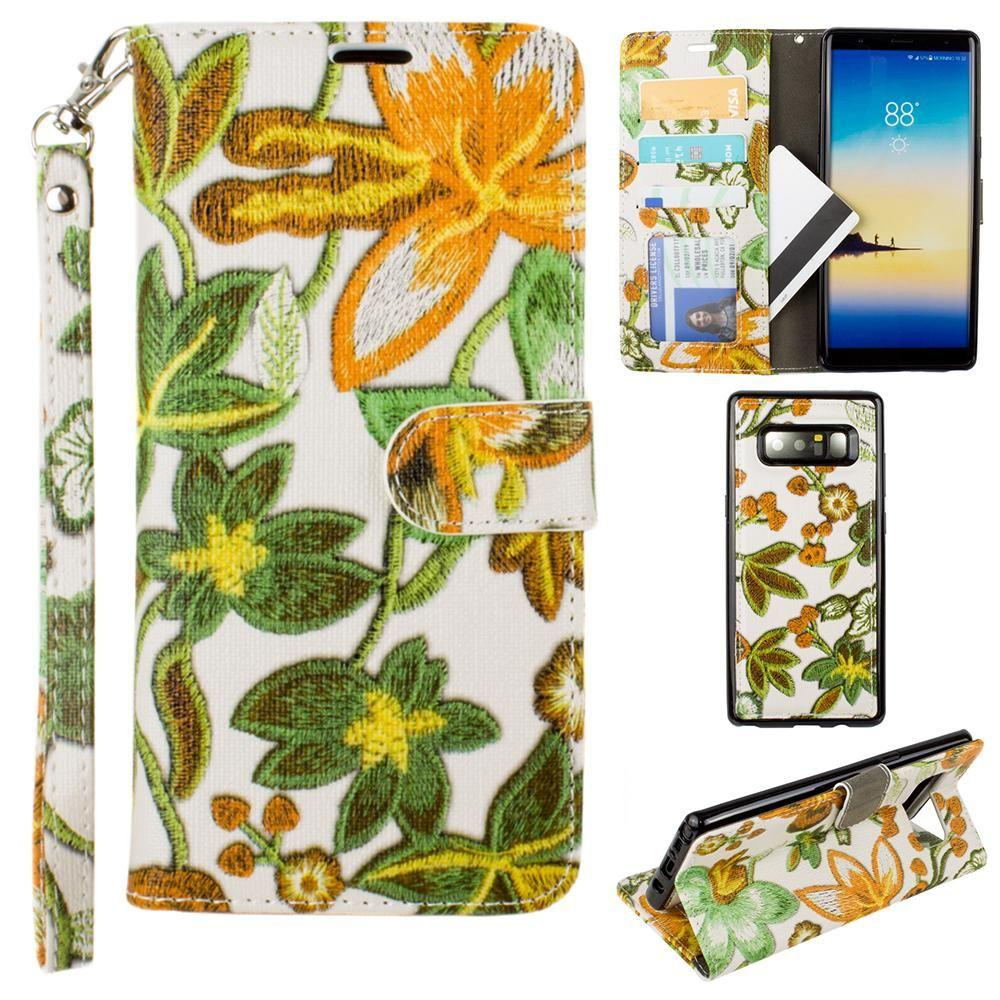 - Faux Embroidery Printed Floral Wallet Case with detachable matching slim case and wristlet, Orange/Green for Samsung Galaxy Note 8