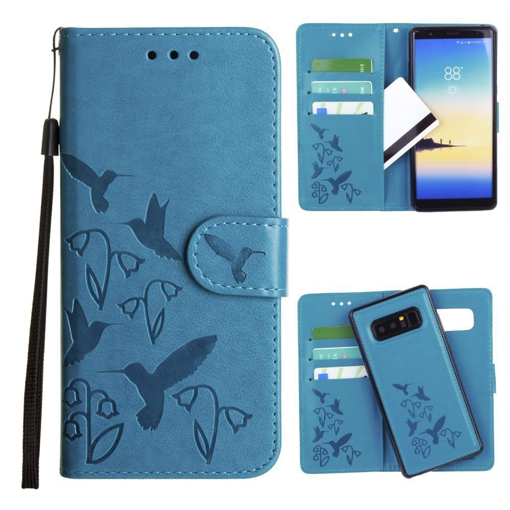 - Embossed Humming Bird Design Wallet Case with Matching Removable Case and Wristlet, Teal Blue for Samsung Galaxy Note 8