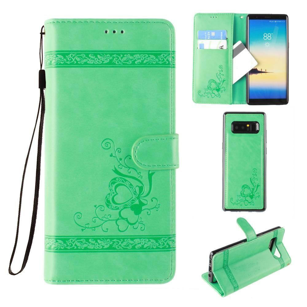 - Embossed heart vine design wallet case with detachable matching case, Mint for Samsung Galaxy Note 8