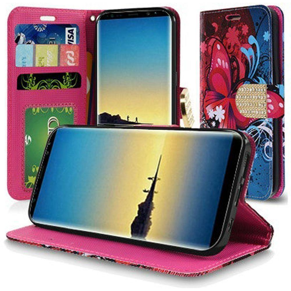 - Butterfly Harmony Swirl Shimmering Folding Phone Wallet, Multi-Color for Samsung Galaxy Note 8