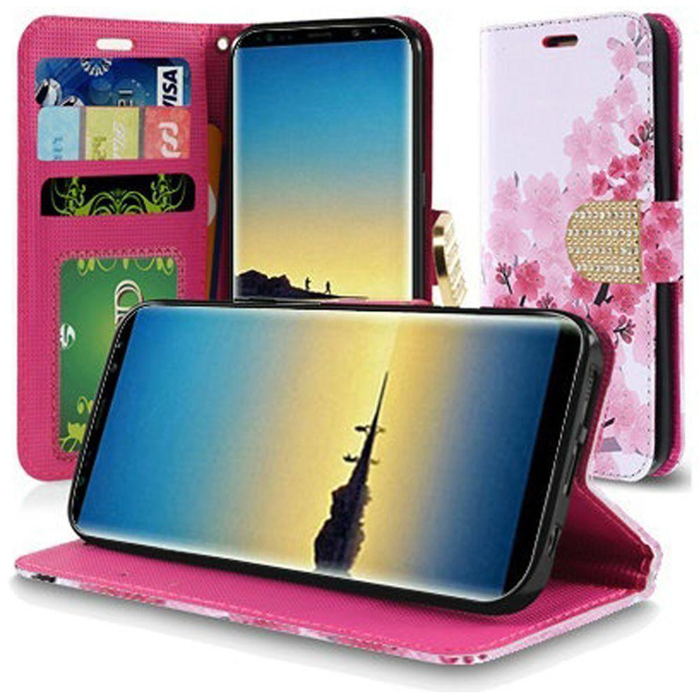 - Cherry Blossoms Shimmering Folding Phone Wallet, Pink for Samsung Galaxy Note 8