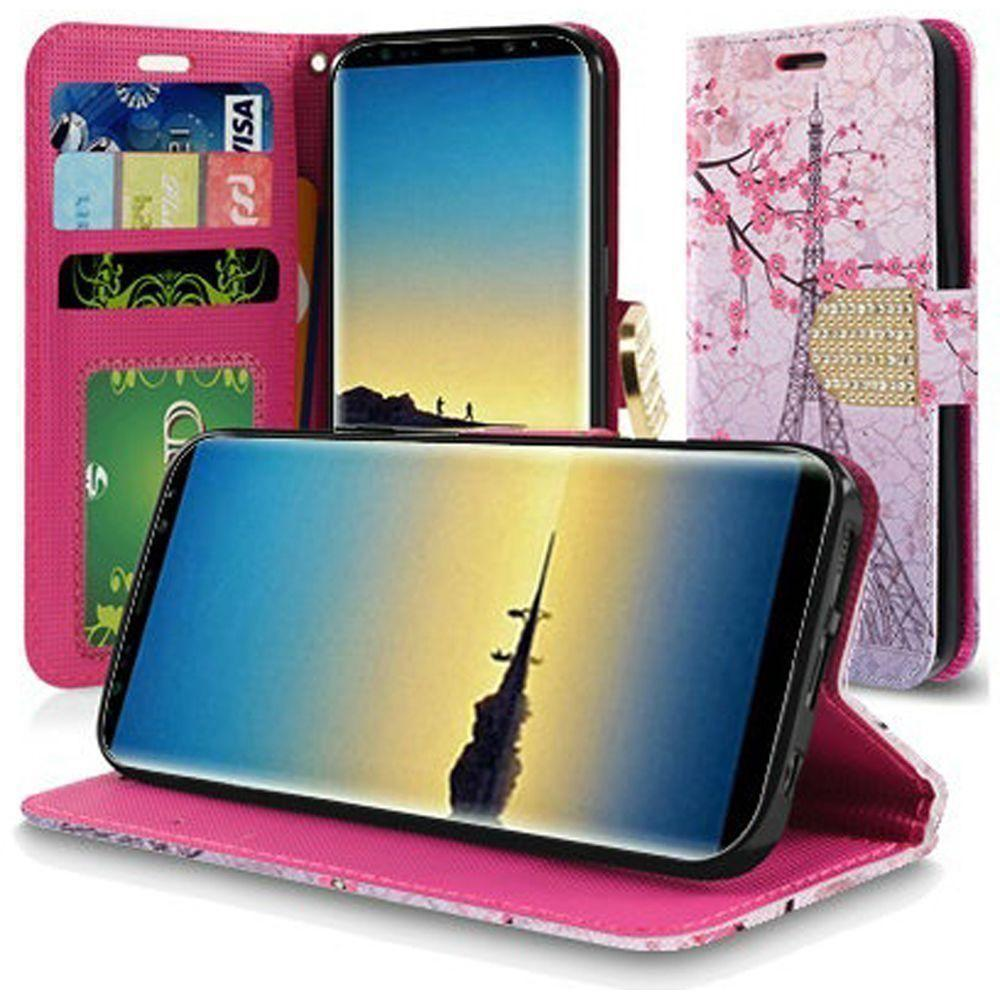 - Paris Eiffel Tower Shimmering Folding Phone Wallet, Pink/Pink for Samsung Galaxy Note 8
