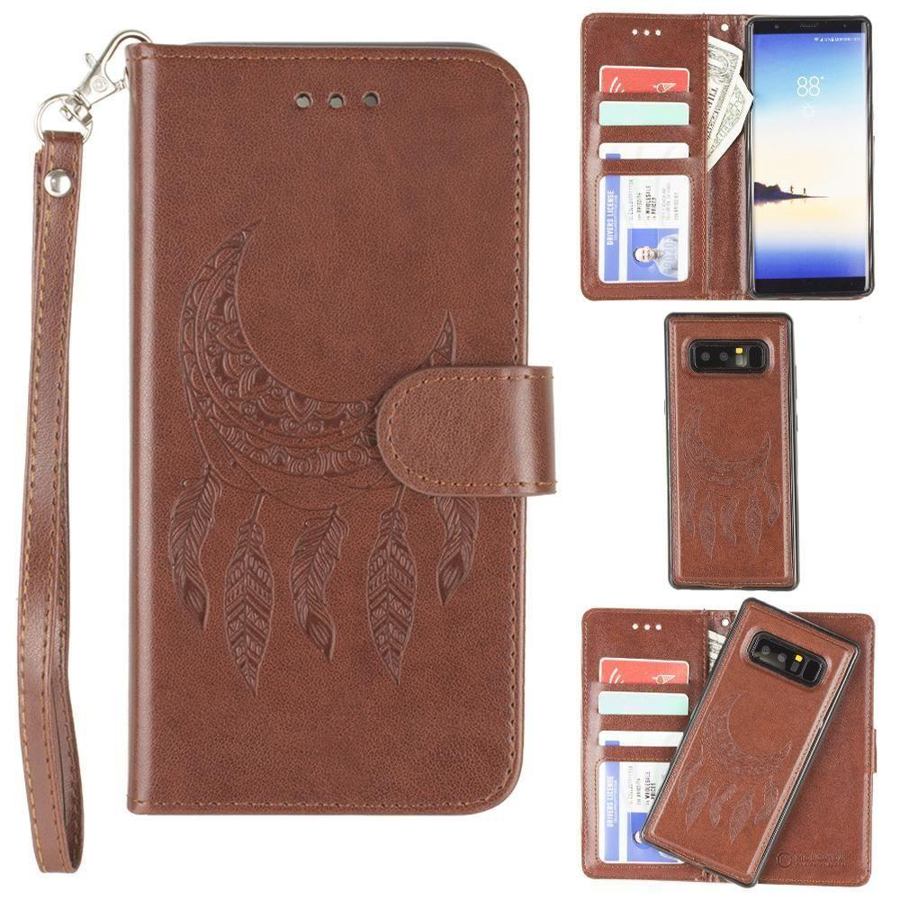 - Embossed Moon Dream Catcher Design Wallet Case with Detachable Matching Case and Wristlet, Brown for Samsung Galaxy Note 8
