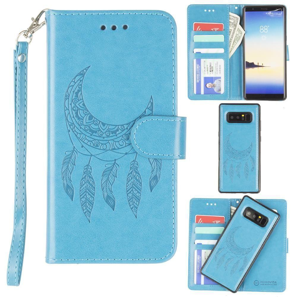 - Embossed Moon Dream Catcher Design Wallet Case with Detachable Matching Case and Wristlet, Teal for Samsung Galaxy Note 8