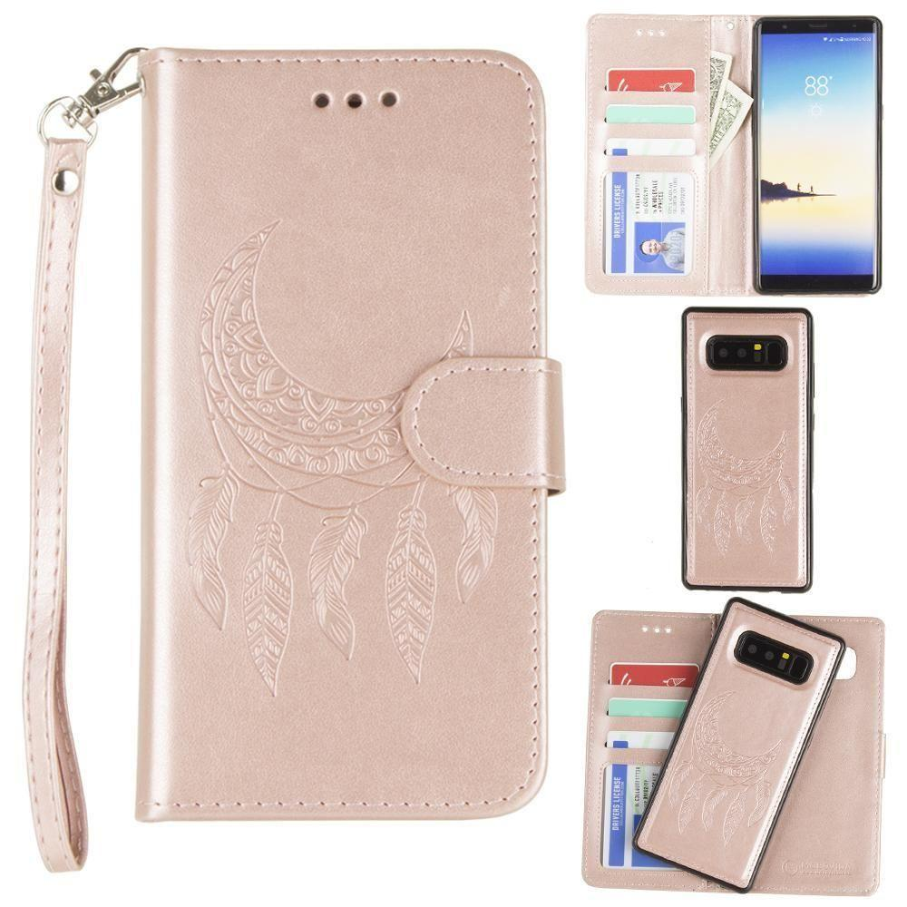- Embossed Moon Dream Catcher Design Wallet Case with Detachable Matching Case and Wristlet, Rose Gold for Samsung Galaxy Note 8