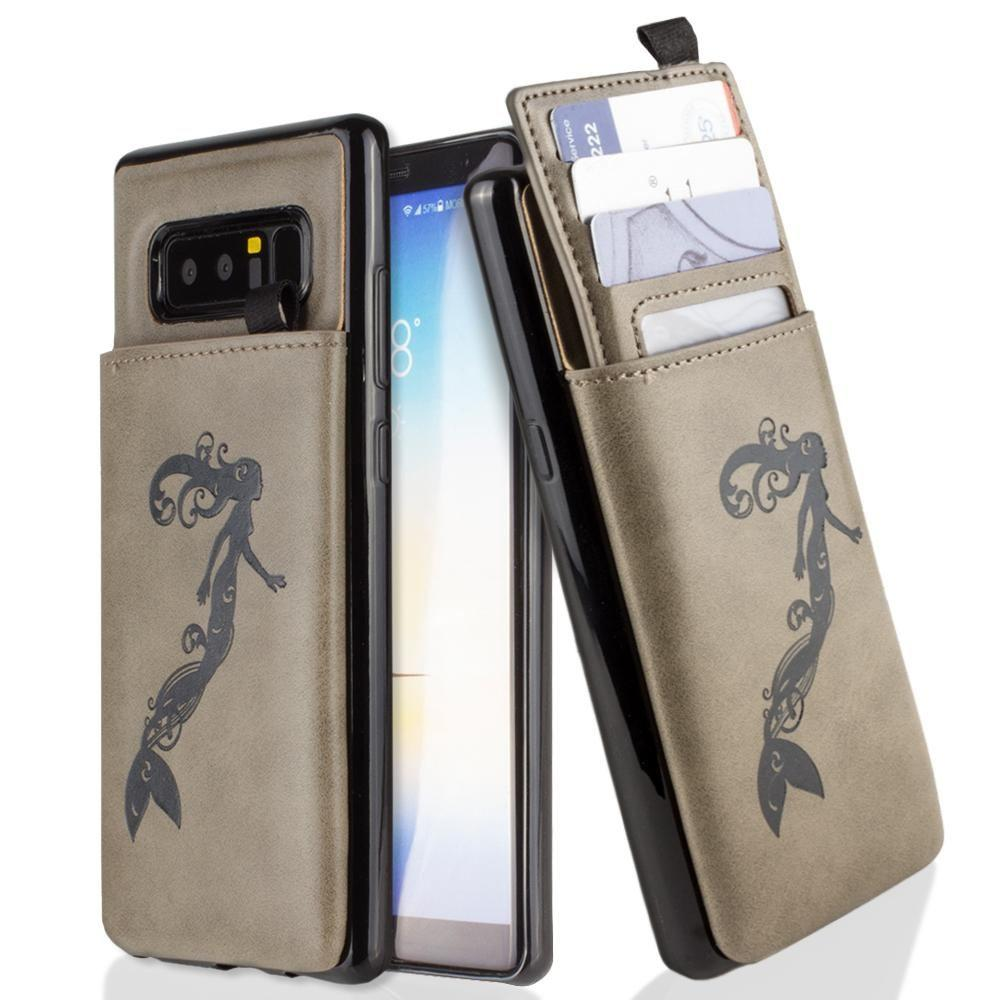 - Embossed Mermaid Leather Case with Pull-Out Card Slot Organizer, Gray for Samsung Galaxy Note 8