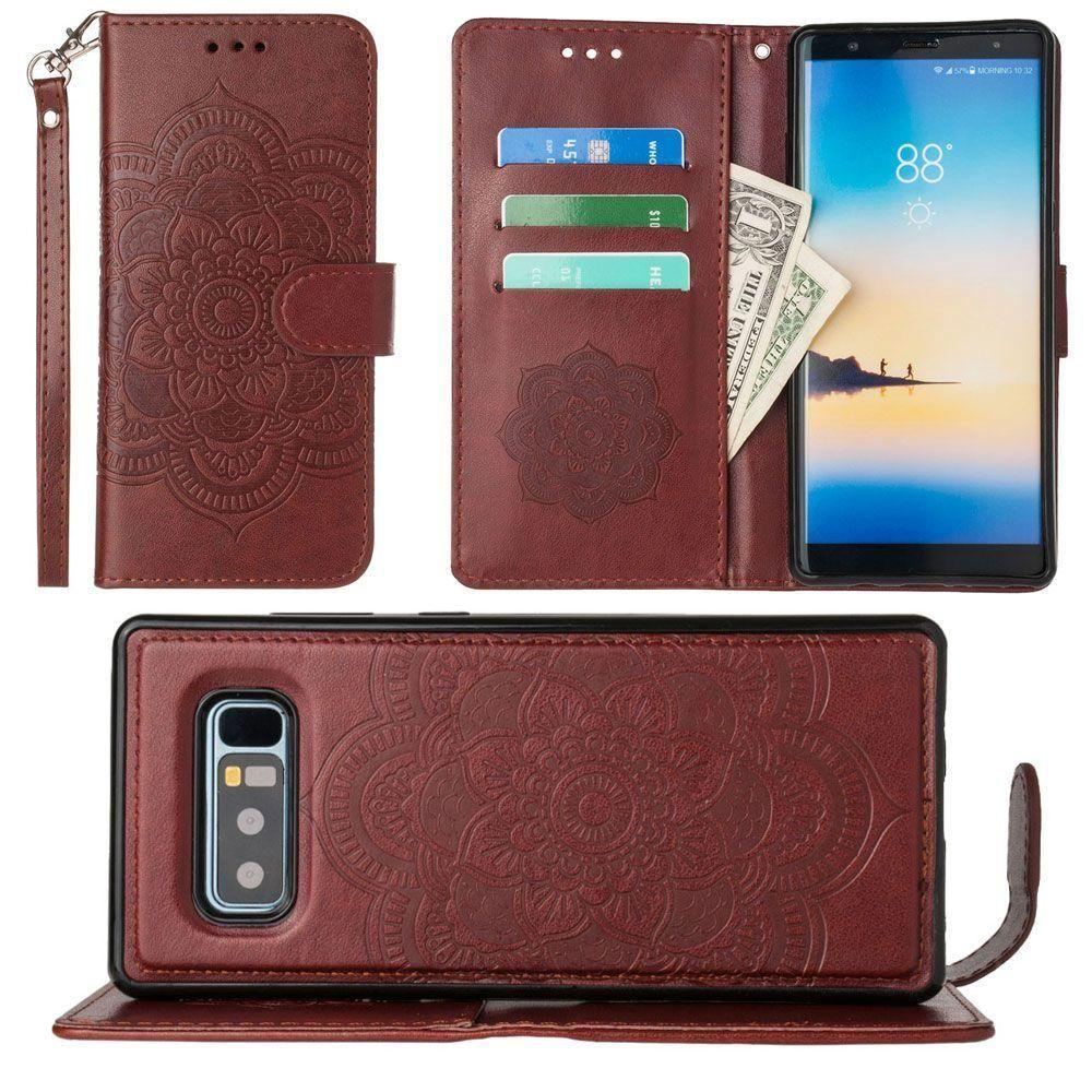 - Embossed Mandala Wallet Case with Detachable Matching Case and Wristlet, Brown for Samsung Galaxy Note 8