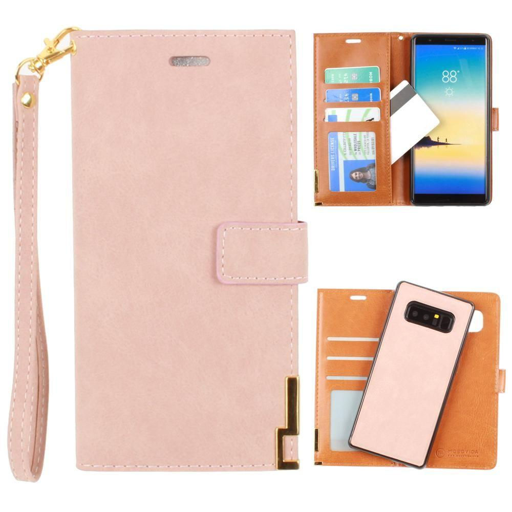 - Ultrasuede metal trimmed wallet with removable slim case and wristlet, Taupe for Samsung Galaxy Note 8