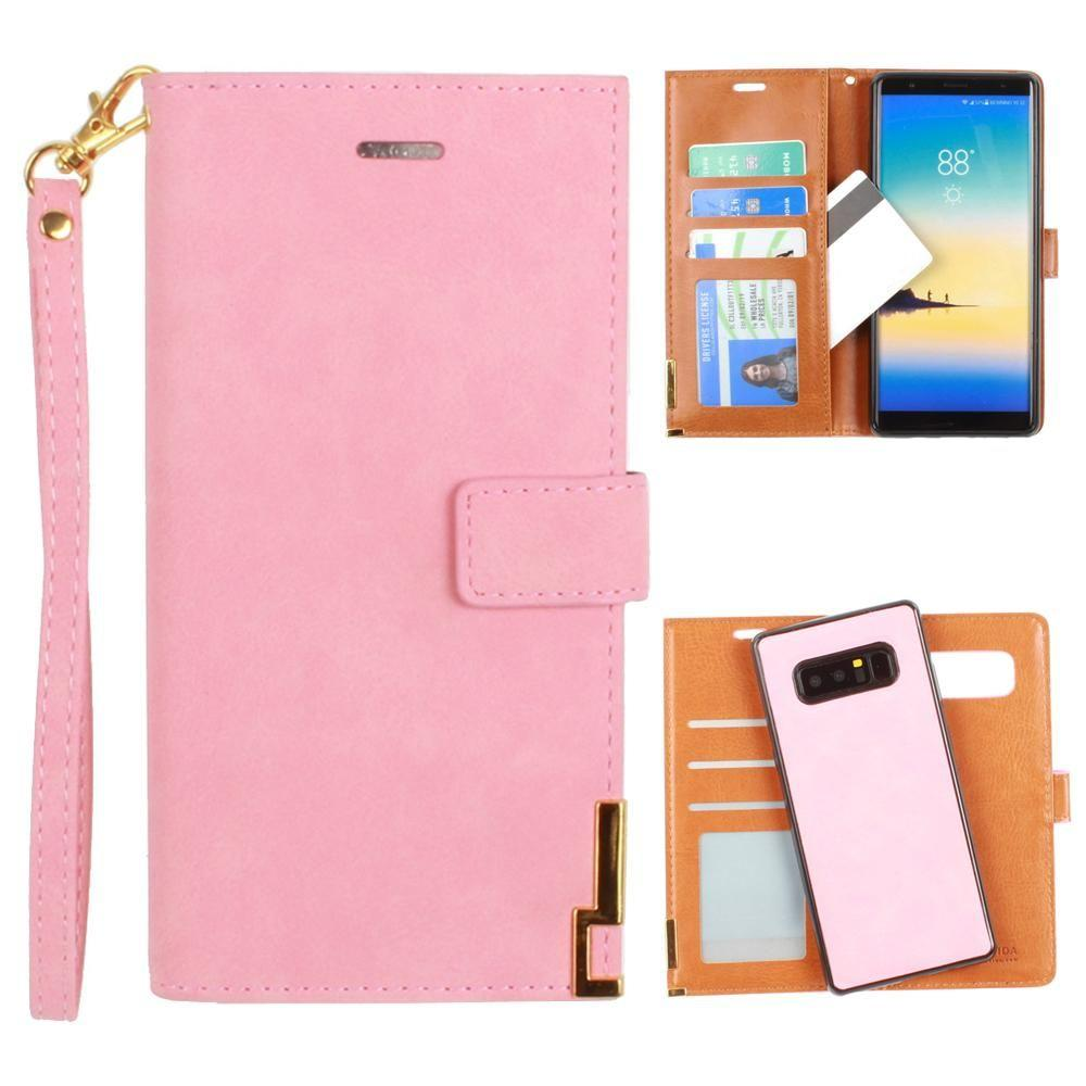 - Ultrasuede metal trimmed wallet with removable slim case and wristlet, Pink for Samsung Galaxy Note 8