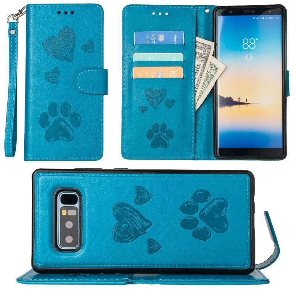 - Puppy Love Wallet with Matching Detachable Magnetic Phone Case and Wristlet, Teal for Samsung Galaxy Note 8