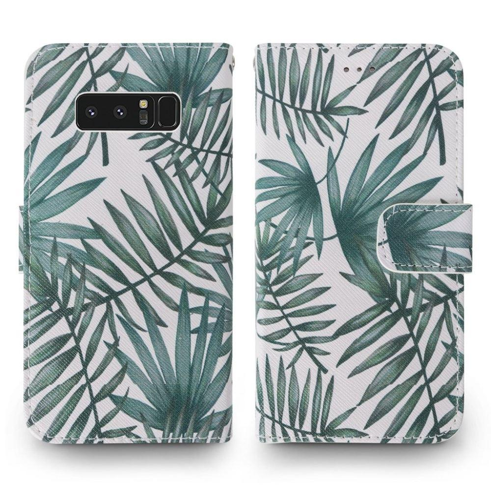 - Palm Leaves Printed Wallet with Matching Detachable Slim Case and Wristlet, White/Green for Samsung Galaxy Note 8