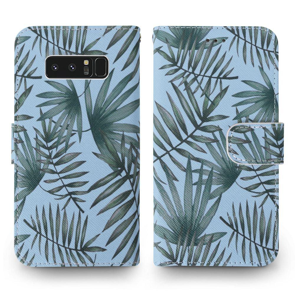- Palm Leaves Printed Wallet with Matching Detachable Slim Case and Wristlet, Light Blue/Green for Samsung Galaxy Note 8