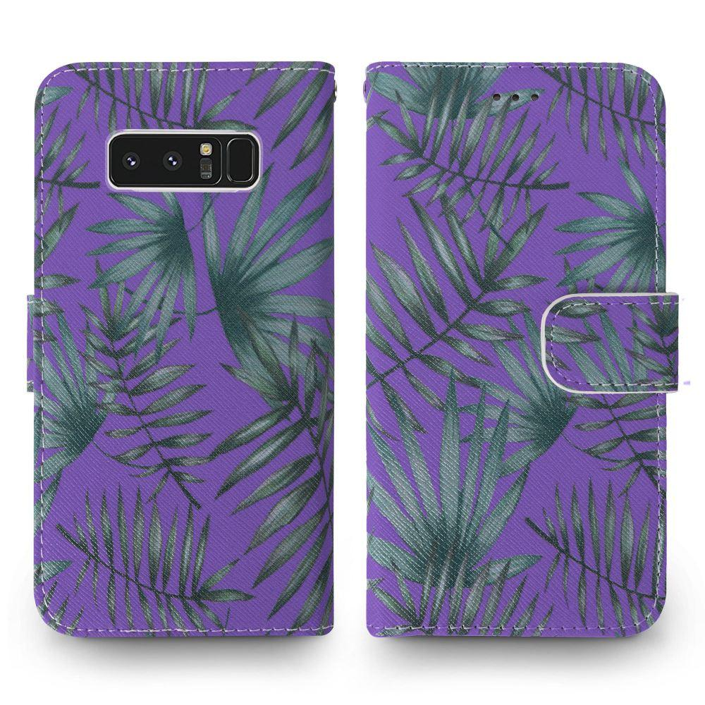 - Palm Leaves Printed Wallet with Matching Detachable Slim Case and Wristlet, Purple/Green for Samsung Galaxy Note 8