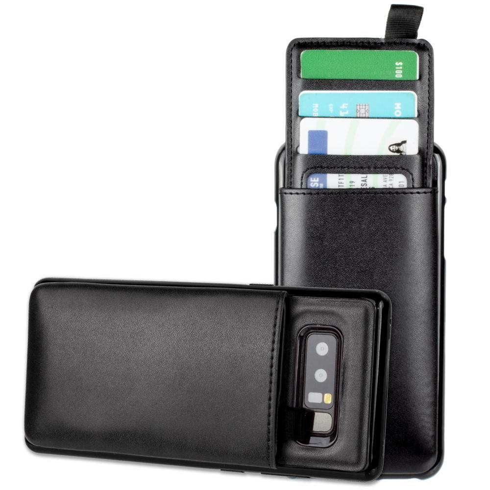 - Vegan Leather Case with Pull-Out Card Slot Organizer, Black for Samsung Galaxy Note 8