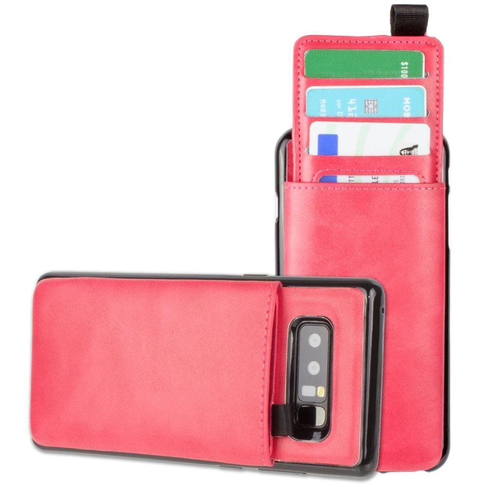 - Vegan Leather Case with Pull-Out Card Slot Organizer, Hot Pink for Samsung Galaxy Note 8
