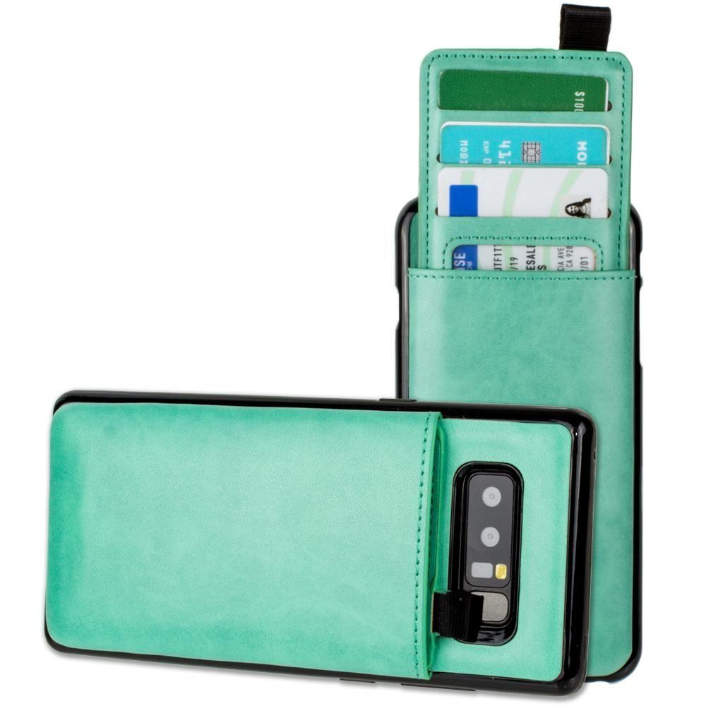 - Vegan Leather Case with Pull-Out Card Slot Organizer, Mint for Samsung Galaxy Note 8