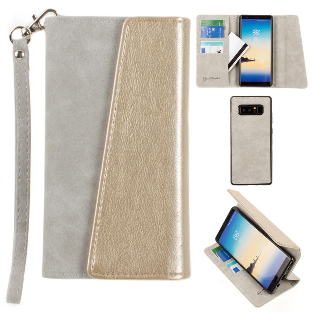 - UltraSuede Metallic Color Block Flap Wallet with Matching detachable Case and strap, Gray/Gold for Samsung Galaxy Note 8