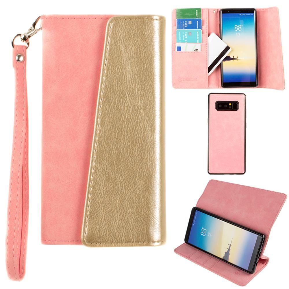 - UltraSuede Metallic Color Block Flap Wallet with Matching detachable Case and strap, Pink/Gold for Samsung Galaxy Note 8