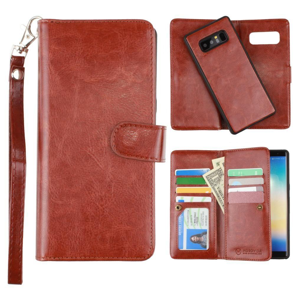 - Multi-Card Slot Wallet Case with Matching Detachable Case and Wristlet, Brown for Samsung Galaxy Note 8