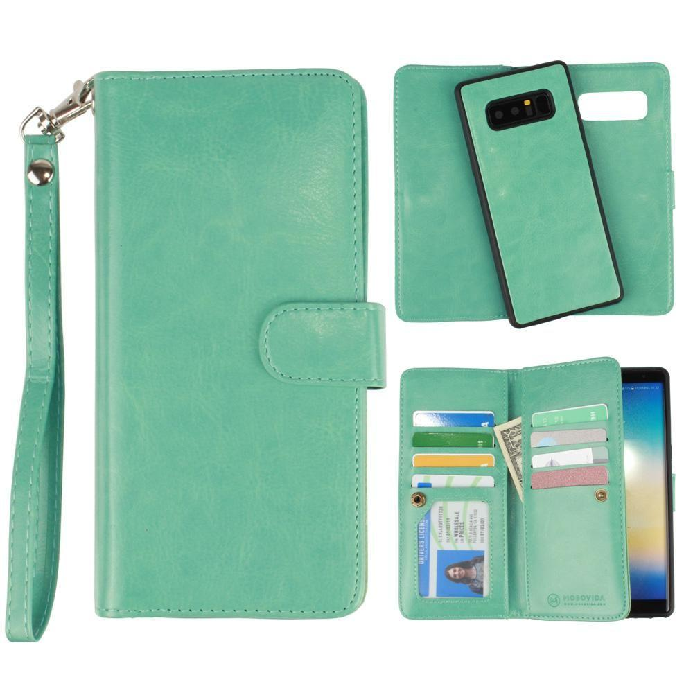 - Multi-Card Slot Wallet Case with Matching Detachable Case and Wristlet, Teal Blue for Samsung Galaxy Note 8