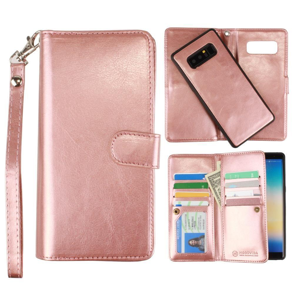 - Multi-Card Slot Wallet Case with Matching Detachable Case and Wristlet, Rose Gold for Samsung Galaxy Note 8