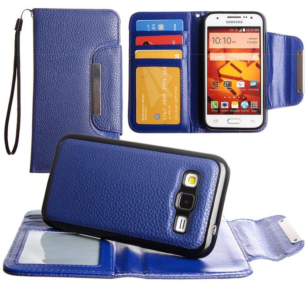 - Compact Wallet Case with Detachable Slim Case, Card Slots and wristlet, Dark Blue