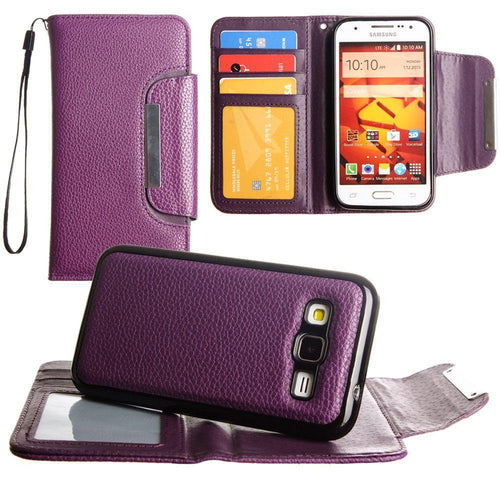 Samsung Galaxy Core Prime - Compact Wallet Case with Detachable Slim Case, Card Slots and wristlet, Purple