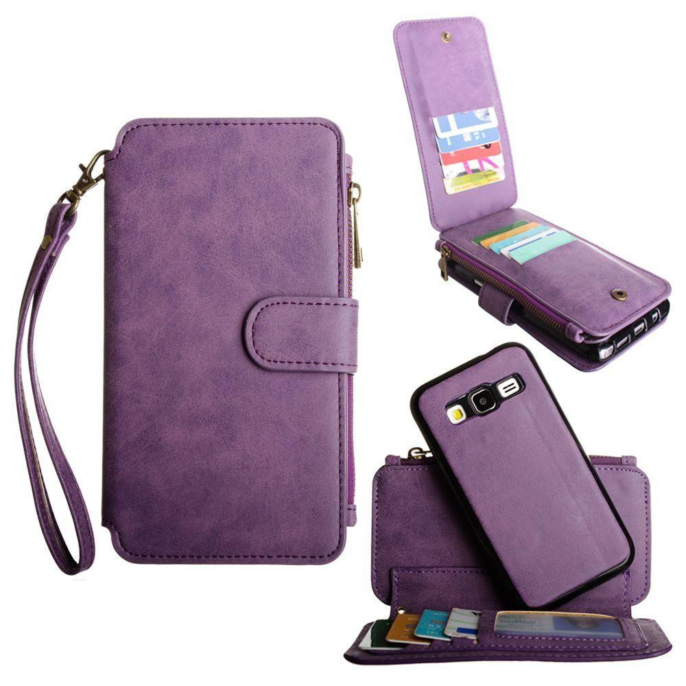 - Luxury Wallet with Removable Case and Flap Card Holder, Purple