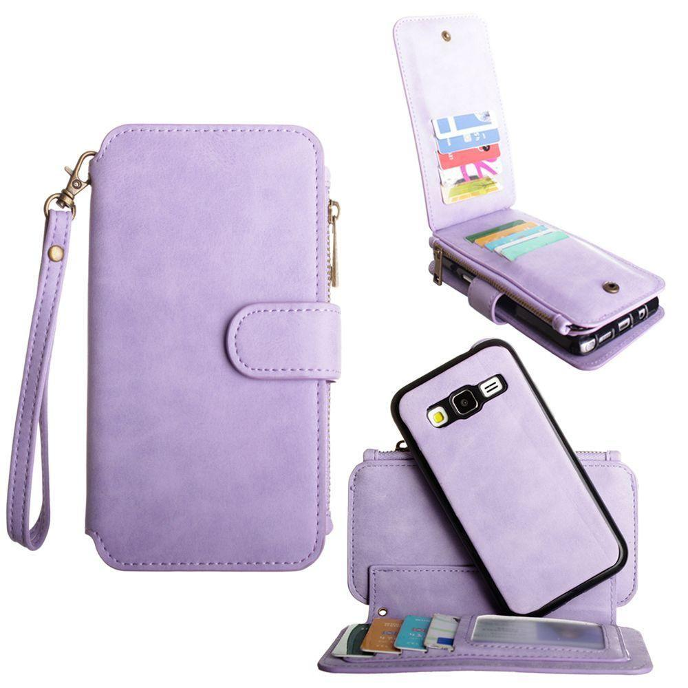 - Luxury Wallet with Removable Case and Flap Card Holder, Lavender