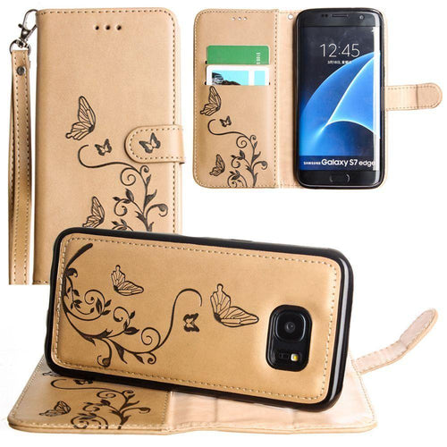 Samsung Galaxy S7 Edge - Embossed Butterfly Design Wallet Case with Detachable Matching Case and Wristlet, Taupe for Samsung Galaxy S7 Edge