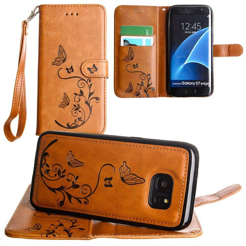 Samsung Galaxy S7 Edge - Embossed Butterfly Design Wallet Case with Detachable Matching Case and Wristlet, Brown for Samsung Galaxy S7 Edge