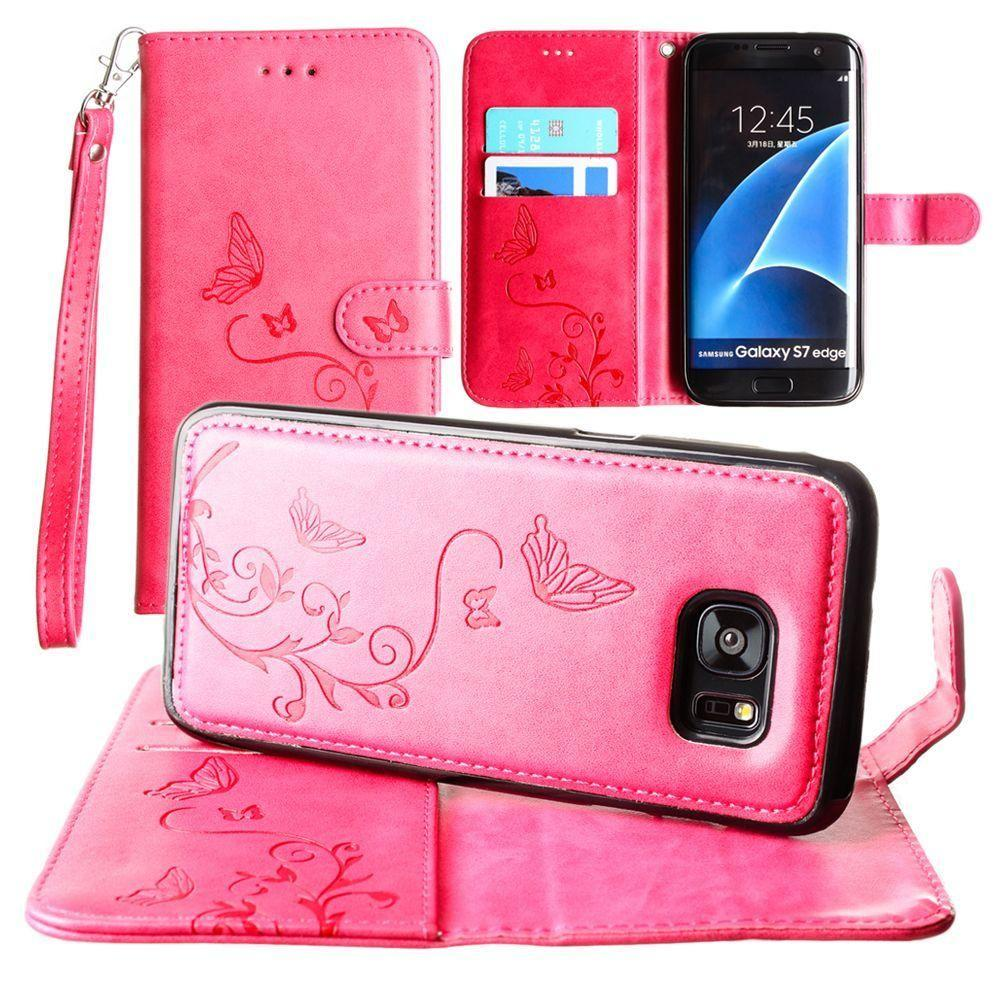 - Embossed Butterfly Design Wallet Case with Detachable Matching Case and Wristlet, Hot Pink for Samsung Galaxy S7 Edge