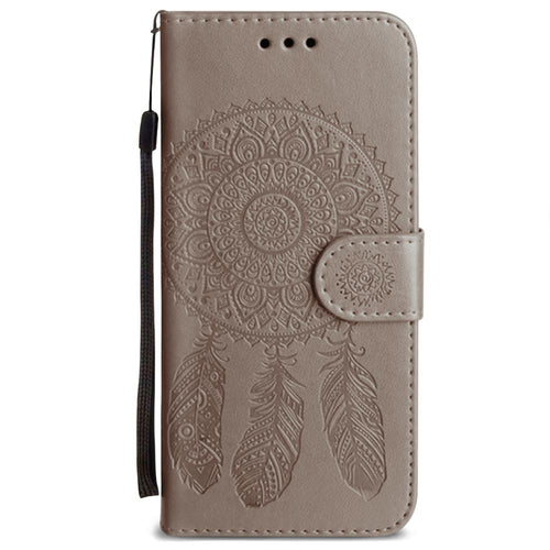 Samsung Galaxy S7 Edge - Embossed Dream Catcher Design Wallet Case with Detachable Matching Case and Wristlet, Tan for Samsung Galaxy S7 Edge