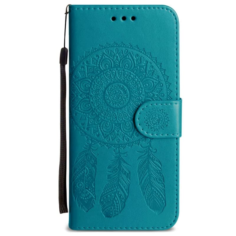 Embossed Dream Catcher Design Wallet Case with Detachable Matching Case and Wristlet, Teal for Samsung Galaxy S7 Edge
