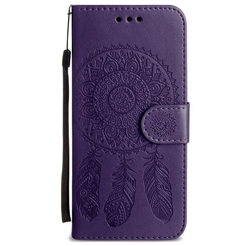 Clearance Accessories - Embossed Dream Catcher Design Wallet Case with Detachable Matching Case and Wristlet, Purple for Samsung Galaxy S7 Edge